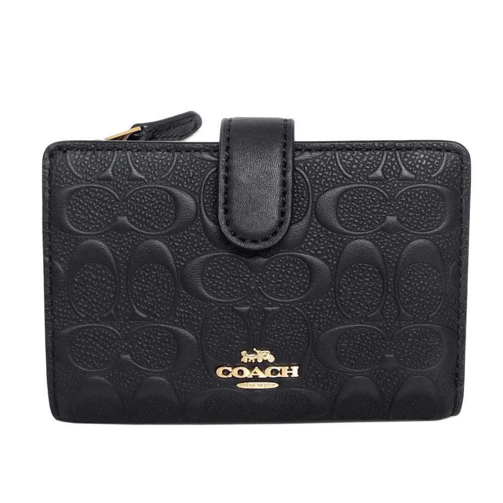 COACH黑色浮雕C Logo全皮拉鍊袋釦式雙摺中夾