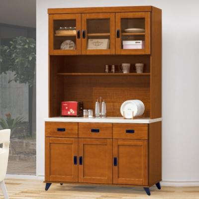 AS-愛麗絲樟木色4尺石面餐櫃全組-121x40x202cm