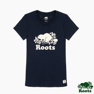 女裝Roots- 有機棉經典logo窄版短袖T恤-藍