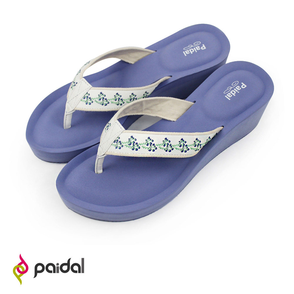 Paidal 藍梅果電繡超厚底腳床夾腳涼拖鞋