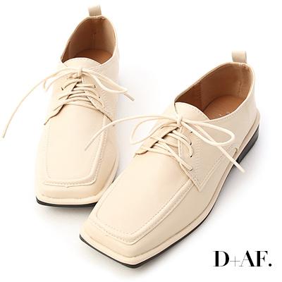 D+AF 經典古著.方頭綁帶低跟牛津鞋*米