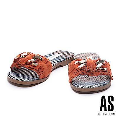 拖鞋 AS 復古流蘇鍊條飾釦羊麂皮編織低跟拖鞋-橘