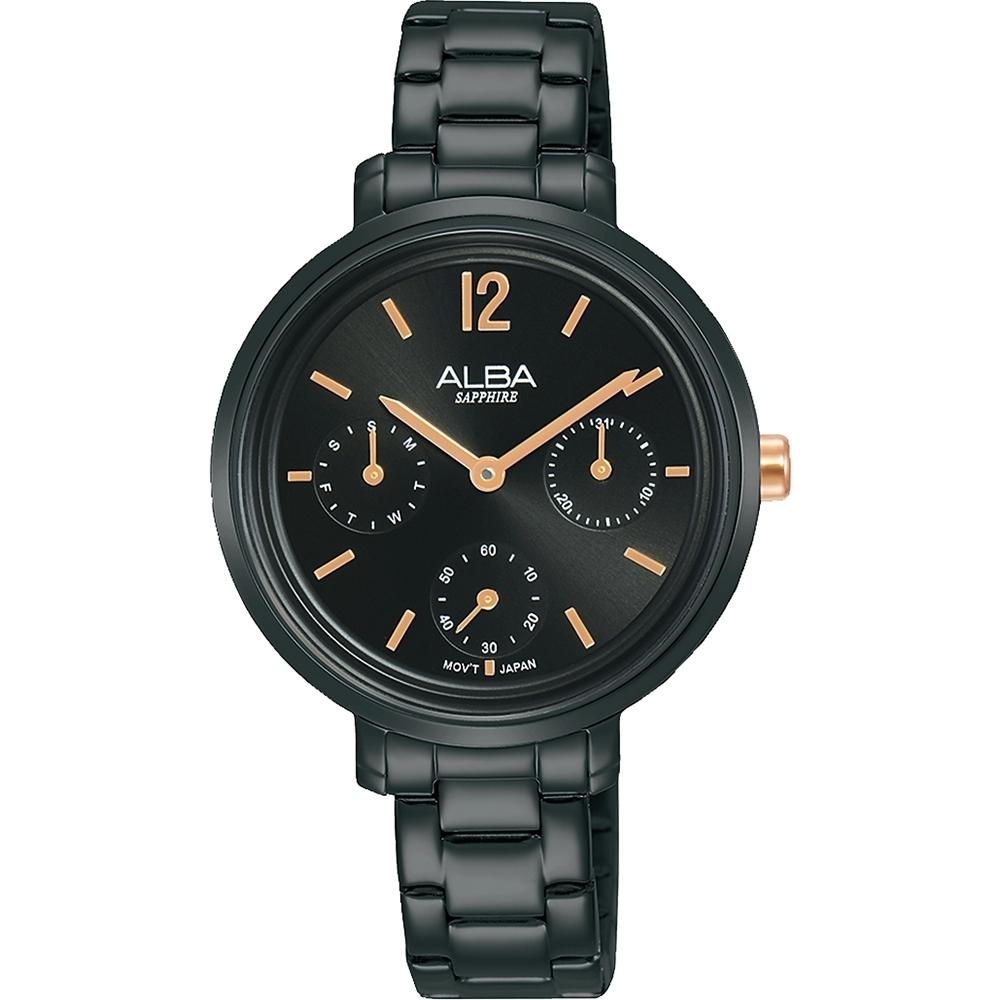 ALBA 雅柏 俏女孩三眼日曆手錶-黑/玫瑰金34mm(VD75-X128SD/AP6659X1)