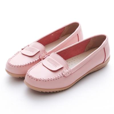 A one 牛皮莫卡辛反折縫線休閒鞋-粉色