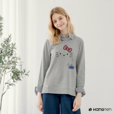 Hang-Ten-女裝-女裝-Sanrio假兩件大學T-灰色