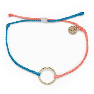 Pura Vida 美國手工 TWO-TONE FULL CIRCLE CHARM 金色圓圈 藍橘雙色蠟線衝浪手鍊手環