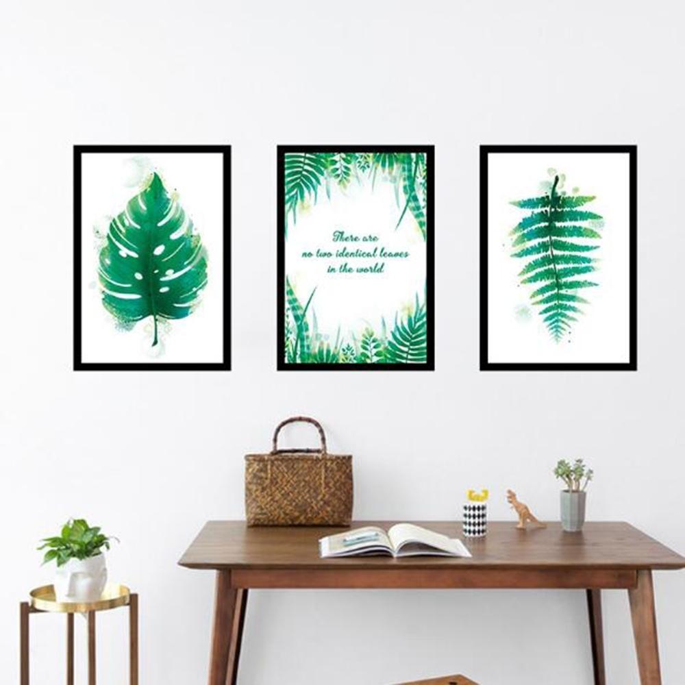 半島良品 DIY北歐風綠植樹葉無痕壁貼-植物相框 AE02043 50X90cm