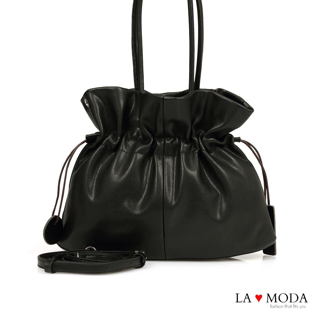 La Moda 設計感極高抓皺束口多背法手提肩背包(黑)