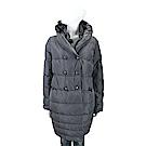 SCERVINO 荷葉立領灰色絎縫雙排釦羽絨大衣