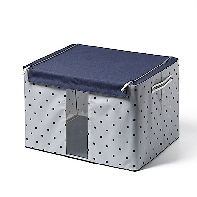 半島良品 日系風格布藝多功能收納箱(小)-藍色方格