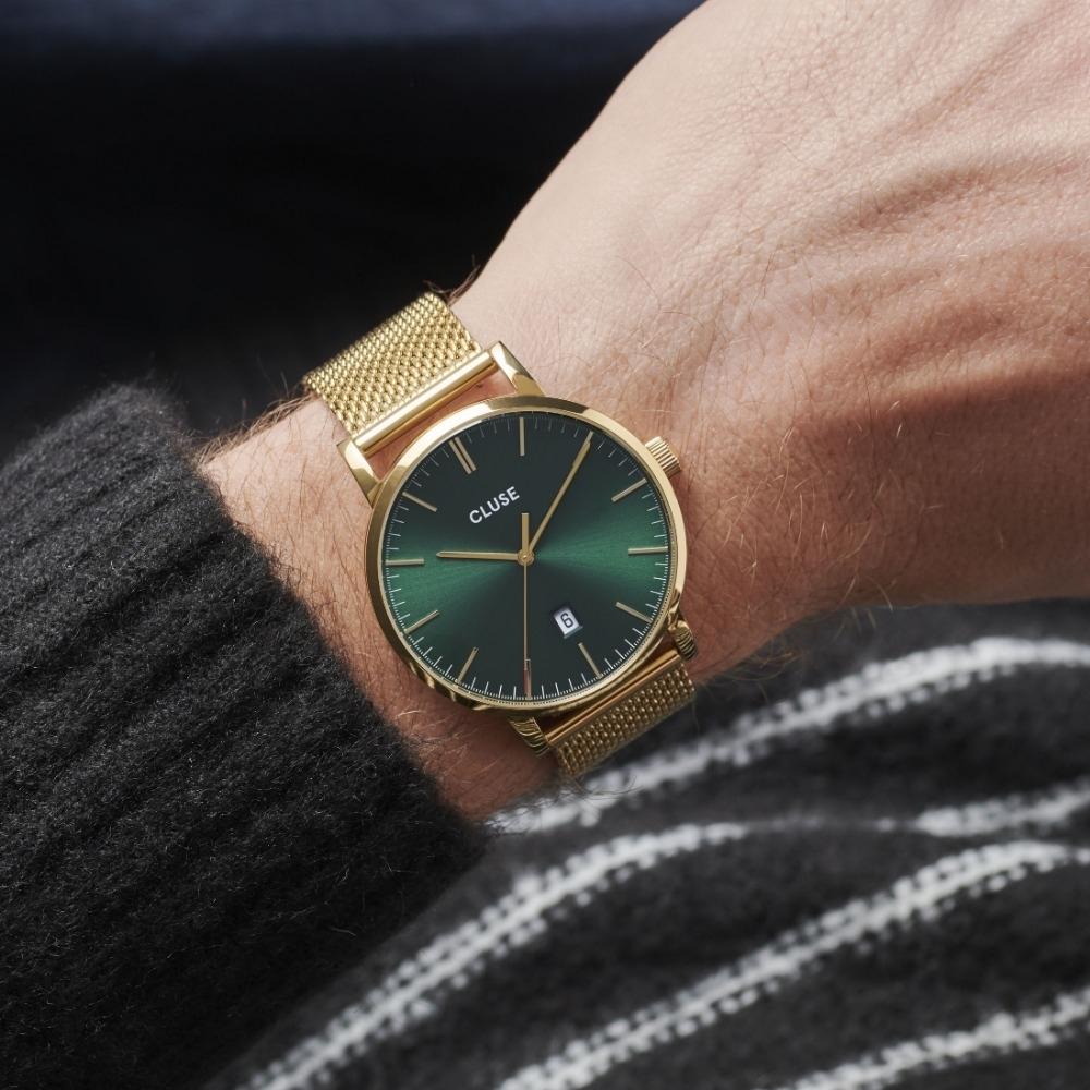 CLUSE Aravis 男款系列腕錶 (金框/森林綠錶面/金色不鏽鋼錶帶) 40mm