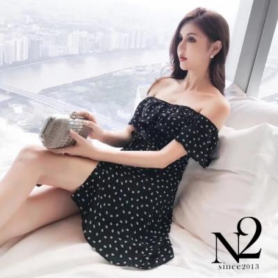 洋裝 一字露肩印花葉側拉鍊連身洋裝(圖片色)N2
