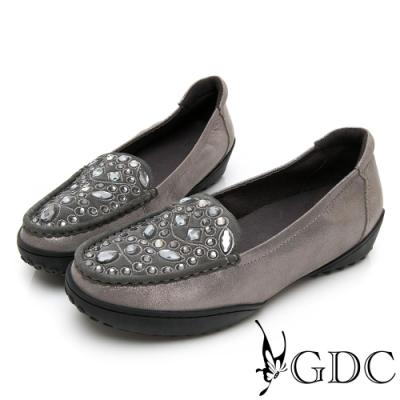 GDC-真皮貴氣水鑽百搭舒適休閒鞋-灰色