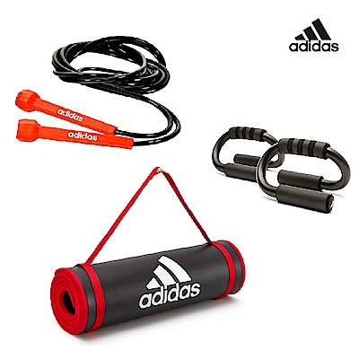 Adidas 重訓三件組(運動墊-黑紅10mm+基礎跳繩+伏地挺身架)