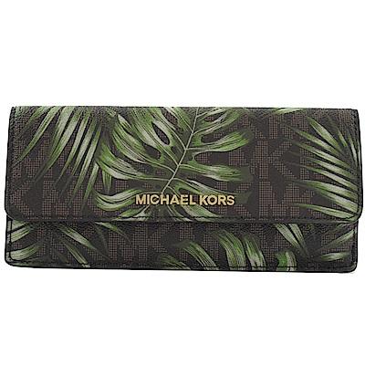 MICHAEL KORS JET SET棕欖葉PVC簡易式長夾(深咖LOGO)