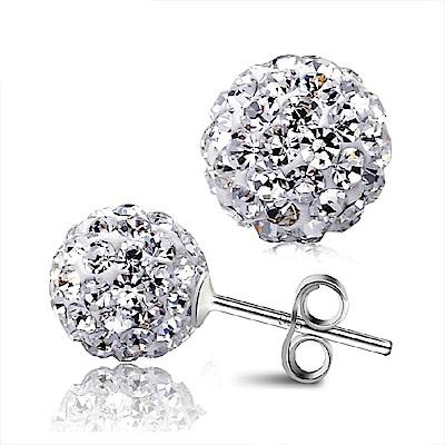 I.Dear飾品-閃耀時光-正白K-閃亮滿鑽雙珠銀耳針耳環AH13