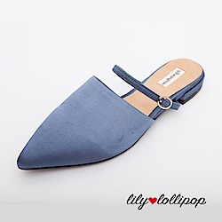 Lilylollipop Claudia尖頭緞面平底鞋--藍灰色