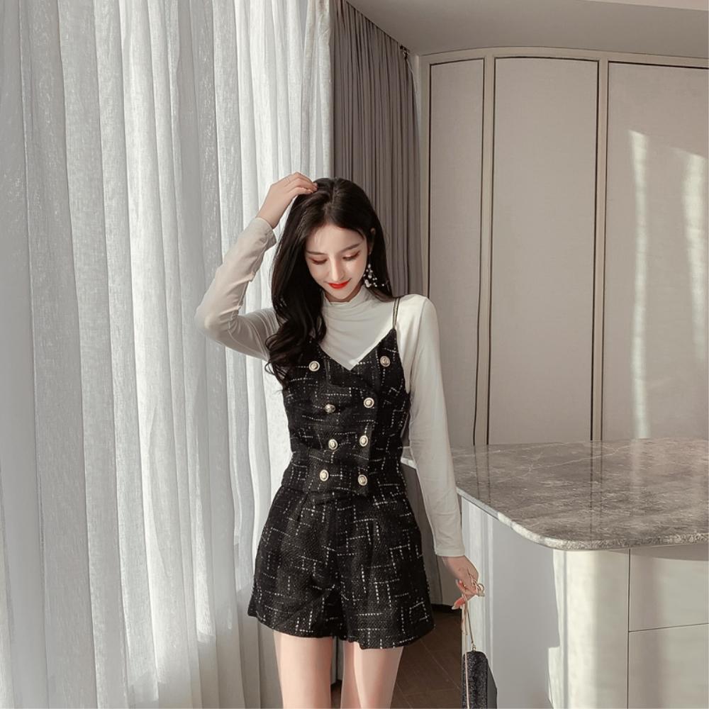 DABI 韓系針織雙排釦連身背帶短褲時尚套裝長袖褲裝