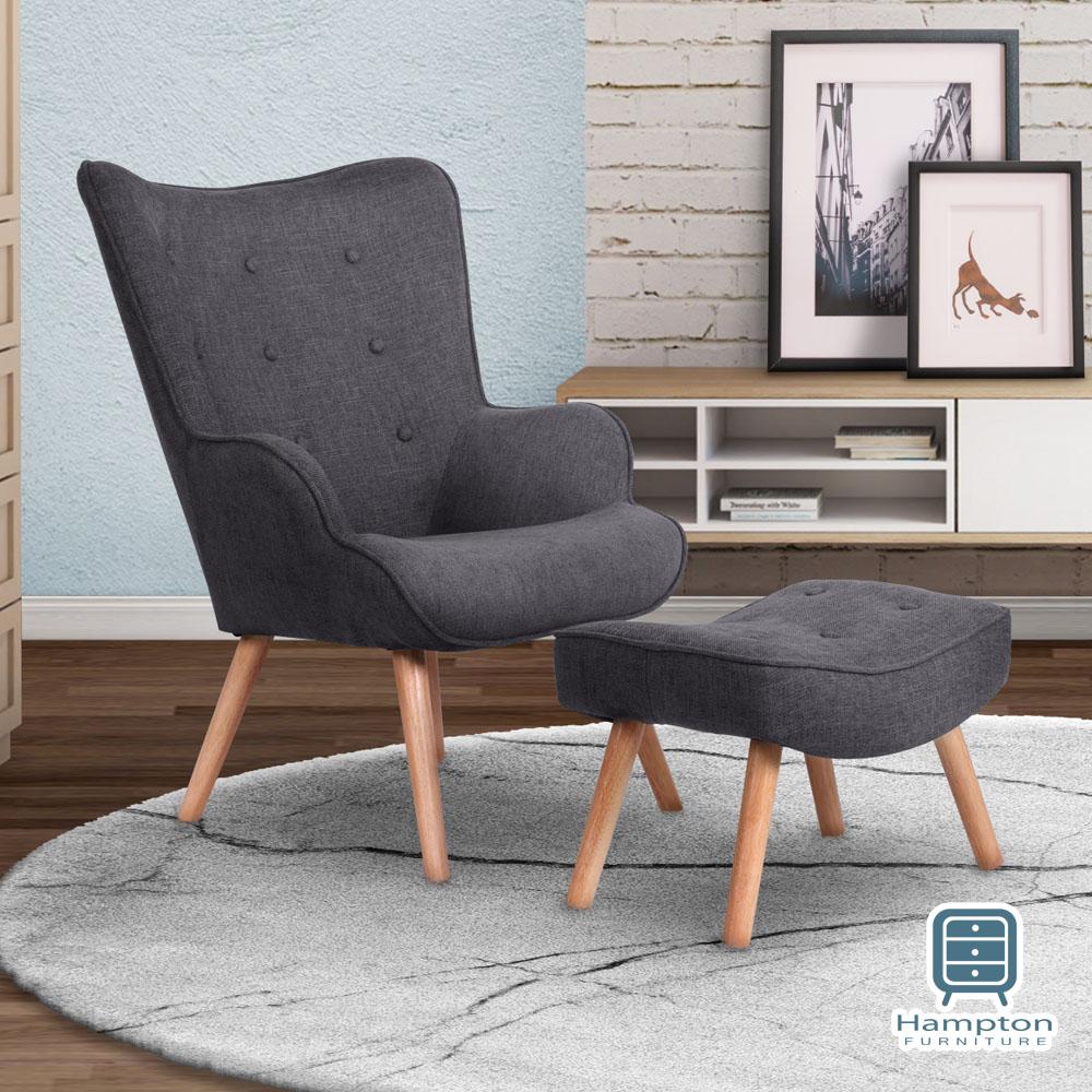 漢妮Hampton安格斯高背休閒單人沙發組-深灰69x75x96cm