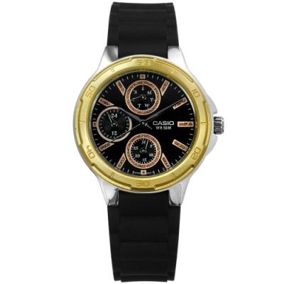 CASIO卡西歐 金蔥設計時標防水50M橡膠手錶-黑x金框/34mm