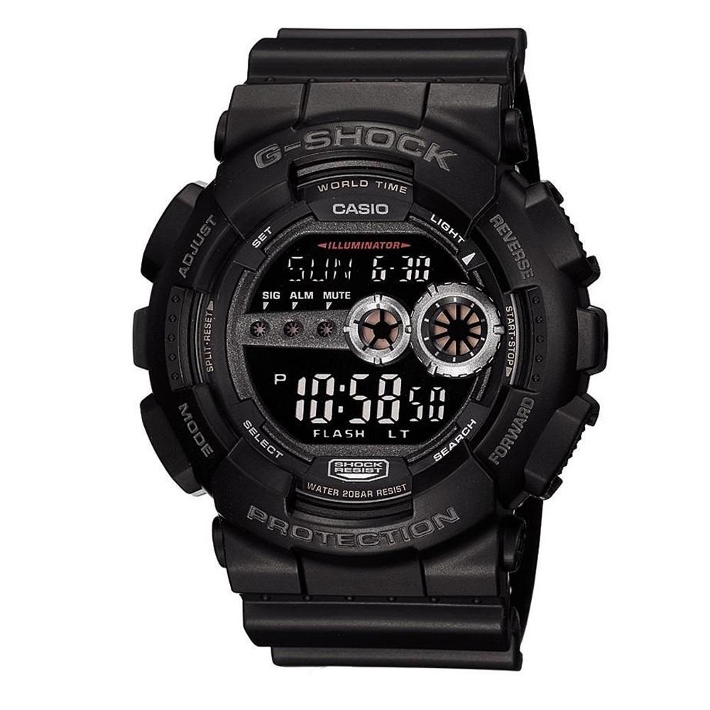G-SHOCK 超個性強悍高亮眼休閒錶(GD-100-1B)-黑/51.2mm