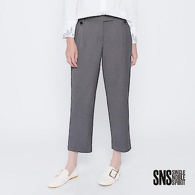 SNS Tomboy風潮打褶釦飾西裝直筒褲(2色)