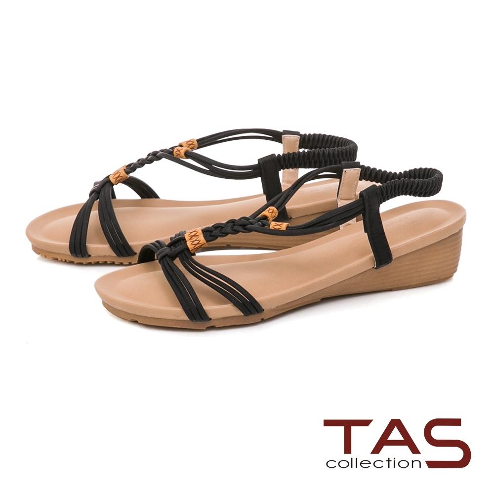 TAS 麻辮交叉編織小坡跟涼鞋-百搭黑