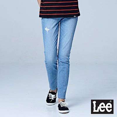 Lee 409中腰合身小直筒牛仔褲-淺藍色