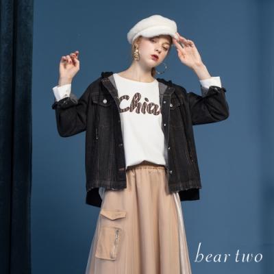 beartwo - 拼接牛仔連帽外套 - 黑