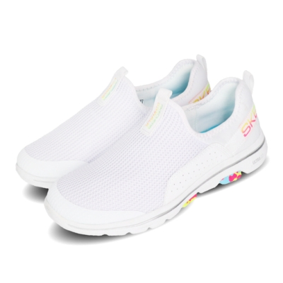 Skechers 休閒鞋 Go Walk 5-Parade 女鞋 健走 襪套 懶人鞋 緩震 輕量 瑜珈鞋墊 白 彩 124034WMLT