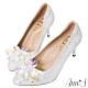 Ann'S冰雪奇緣2.0-質感立體冰鑽電鍍鞋跟尖頭高跟婚鞋 product thumbnail 1