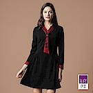 ILEY伊蕾 跳色造型格紋領巾圓點緹花洋裝(黑)