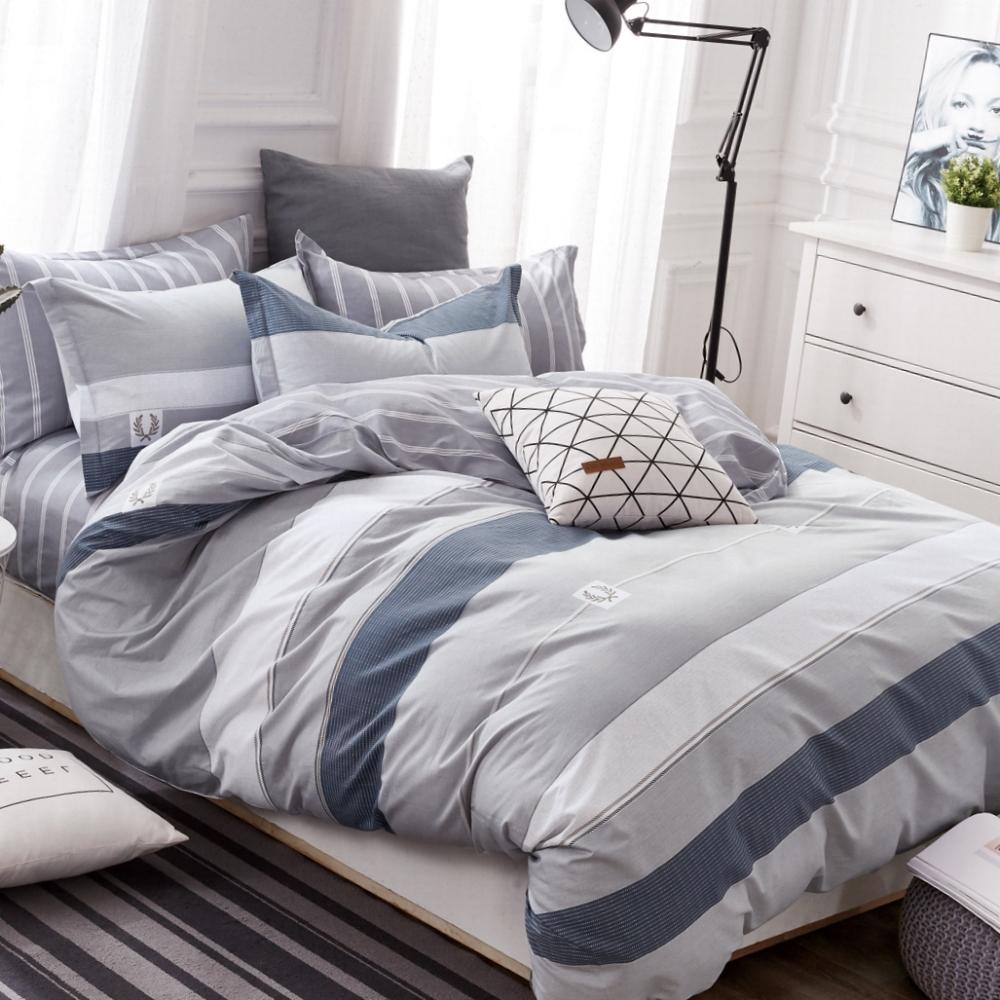 La Lune MIT 頂級精梳棉200織紗單人床包雙人被套三件組 雷曼德-灰