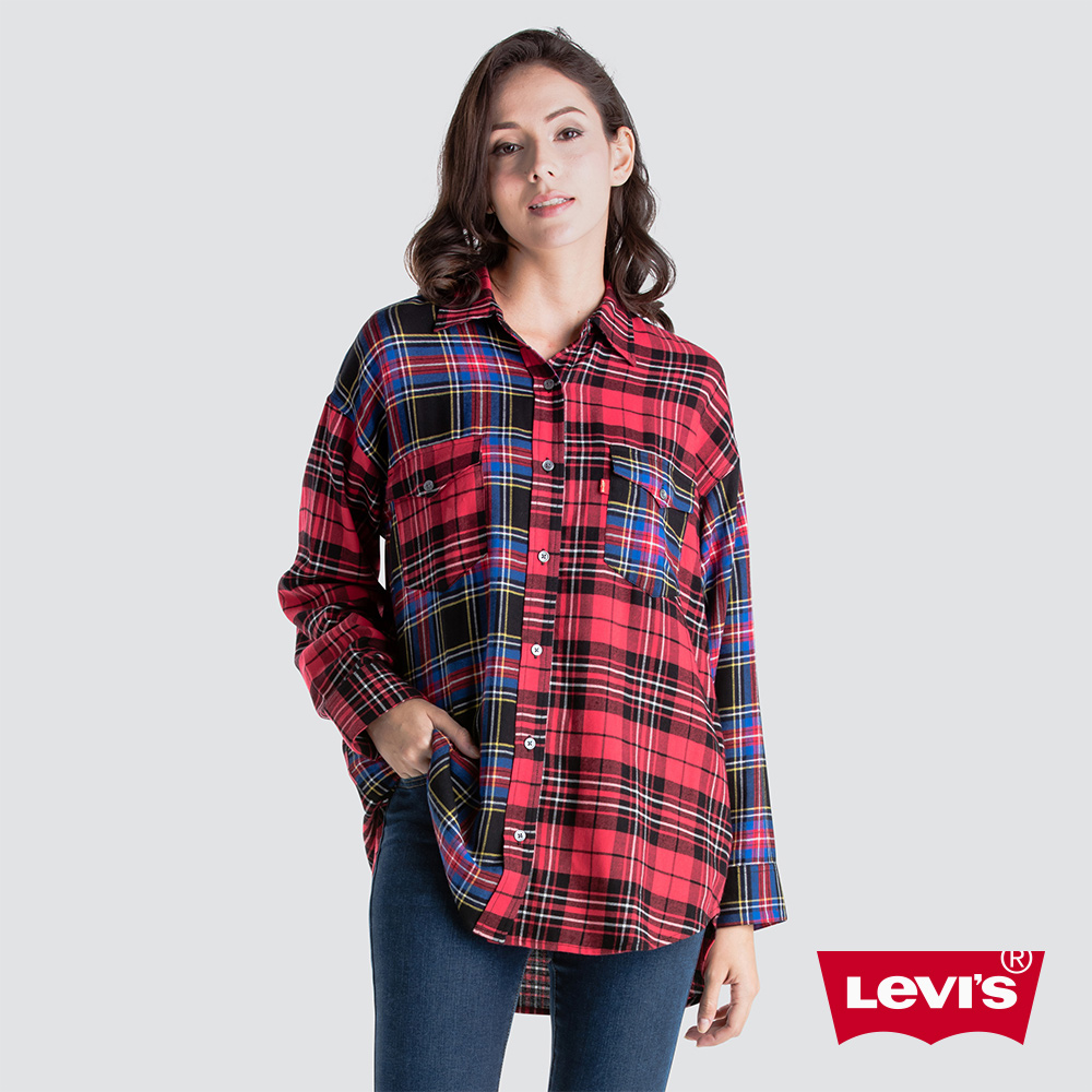 Levis 女款 襯衫 紅藍黑格紋 修身長版 撞色拼接