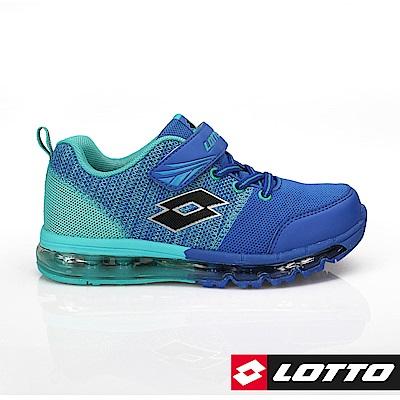 LOTTO 義大利- 童FUN KNIT 全氣墊編織跑鞋 (藍)