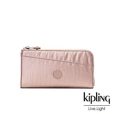 Kipling 金屬光暈微醺粉實用拉鍊長夾-ANILOCK
