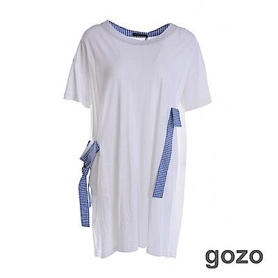 gozo 配色方格綁帶長版棉質洋裝(二色)