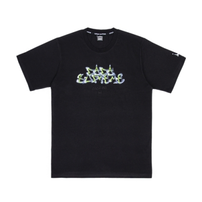【DADA SUPREME】FLAME 中性刺繡印花短袖上衣-黑