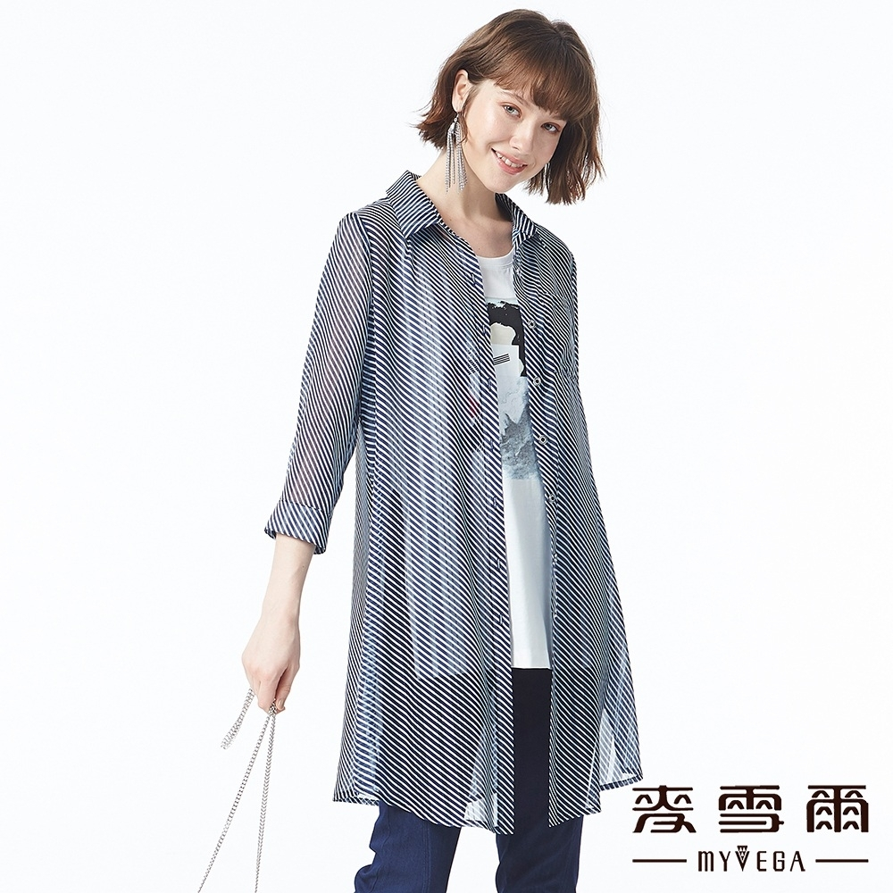 麥雪爾 休閒風翻領斜條紋長版襯衫