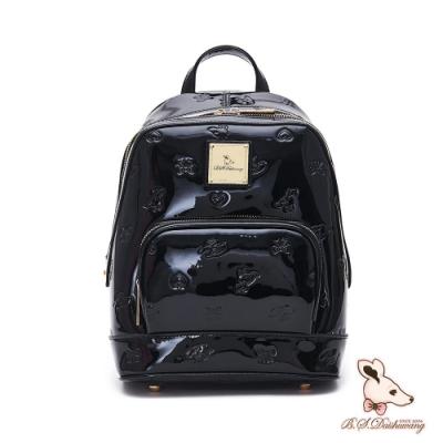 B.S.D.S冰山袋鼠-摩登壓印x經典光膠時尚通勤後背包-擺渡黑