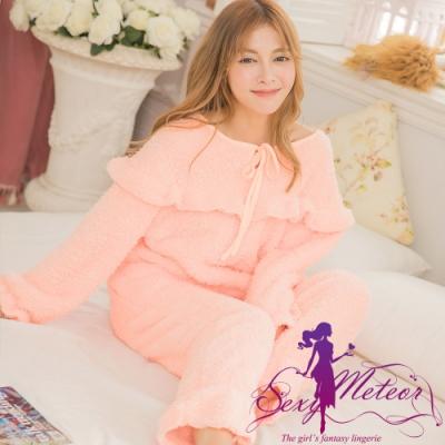 睡衣 全尺碼 羊羔絨保暖荷葉邊長袖二件式睡衣組(甜美淺橘) Sexy Meteor