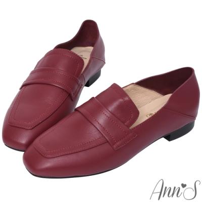 Ann'S會呼吸的舒適-小羊皮全真皮兩穿平底穆勒紳士鞋-酒紅(版型偏大)