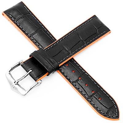 海奕施 HIRSCH AndyL 橡膠複合式小牛皮錶帶-黑橘