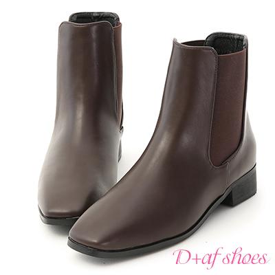 D+AF 品味時尚.小方頭切爾西短靴*咖