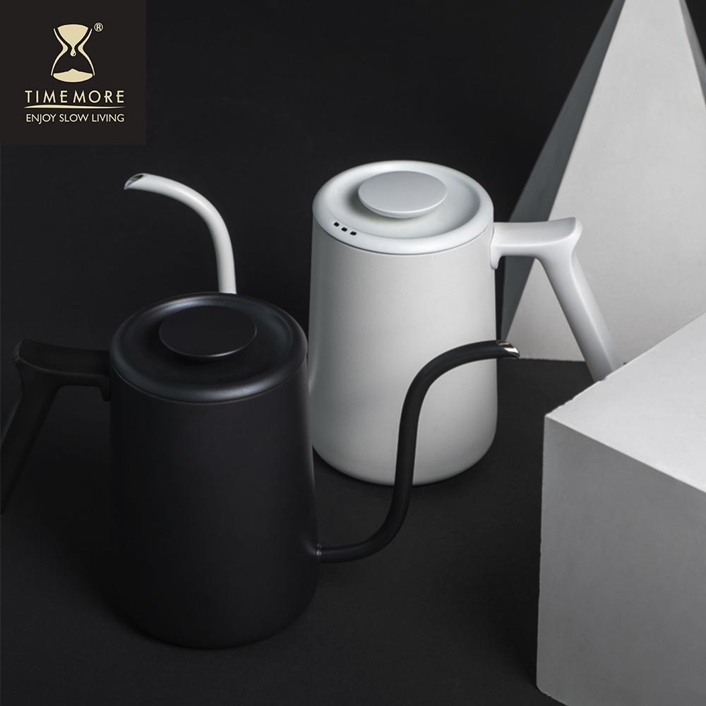 TIMEMORE泰摩 魚Pure不鏽鋼咖啡手沖壺細口壺700ml-霧面白/黑