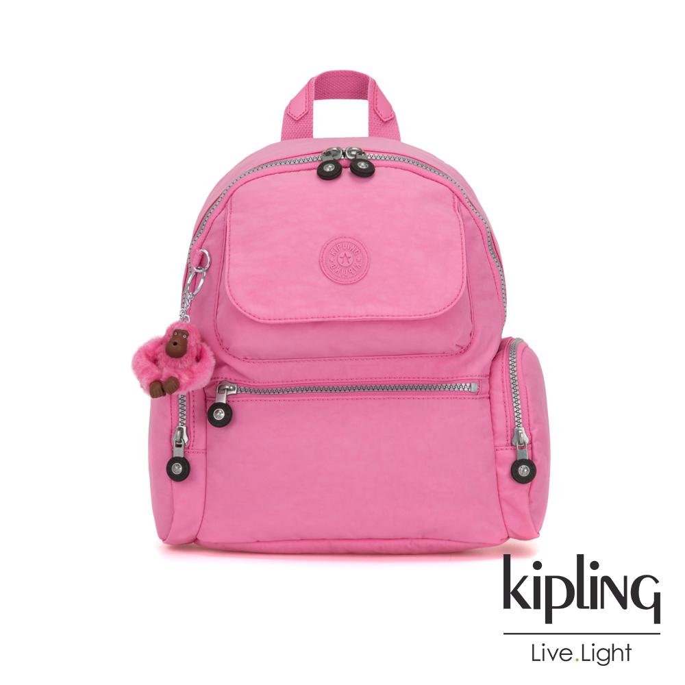 Kipling 甜美糖果粉翻蓋多口袋拉鍊後背包-MATTA