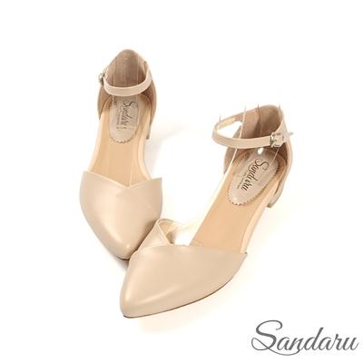 山打努SANDARU-尖頭鞋 優雅壓摺V字側扣平底鞋-米
