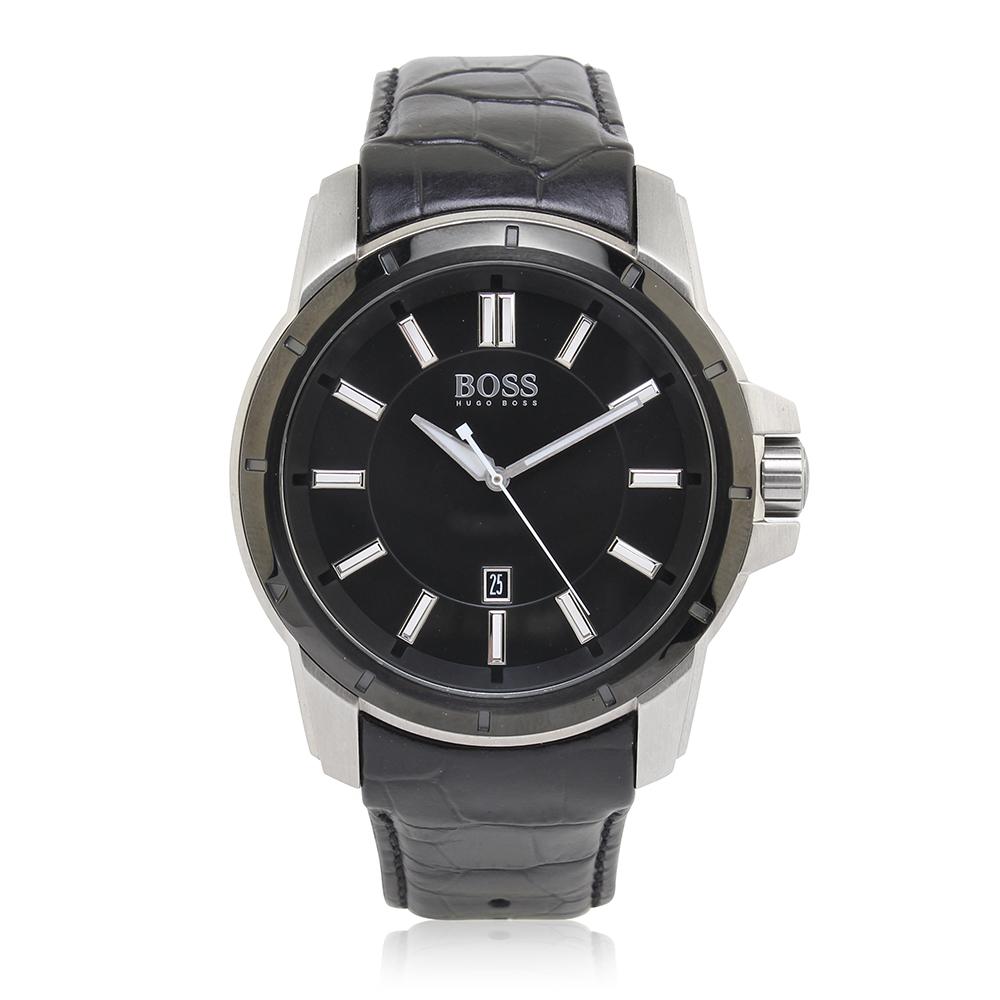 Hugo Boss 經典黑色鱷魚壓紋皮革男腕錶(H1512922)-40mm