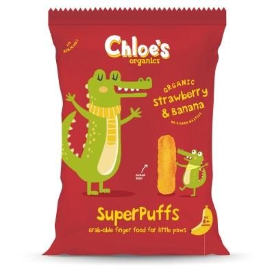 英國進口 Chloe's 克蘿伊有機幼兒胖牙餅(草莓香蕉) 20g/包