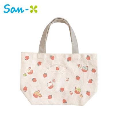 日本正版 角落生物 草莓系列 帆布 手提袋 便當袋 午餐袋 角落小夥伴 San-X 753678